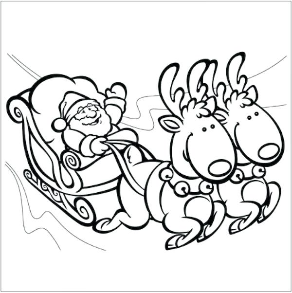 600x602 Coloring Pages Xmas Sleigh Ng Page Free Ng Pages Sleigh