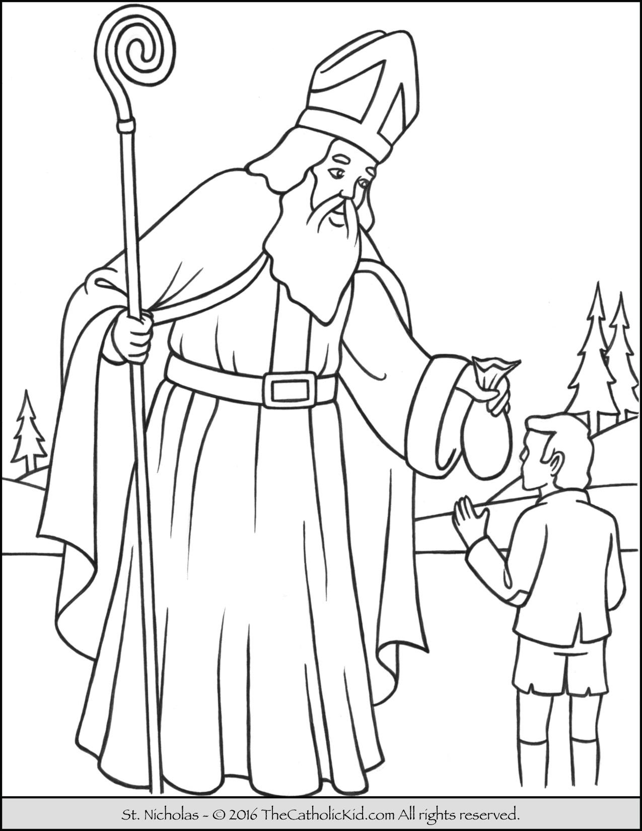 1275x1650 Saint Nicholas Coloring Page