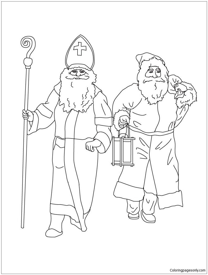834x1100 Zwarte Piet And St Nicholas Coloring Page Free Printable Also
