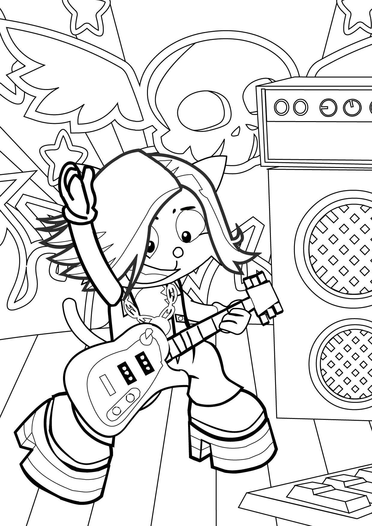 1240x1754 Rock Star Coloring Page