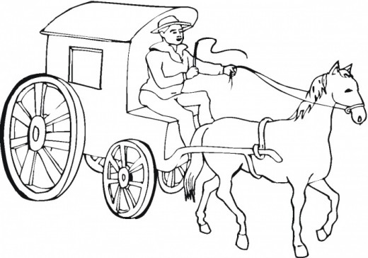 520x364 Fantastic Stagecoach Coloring Pages For Kids Picture Collection