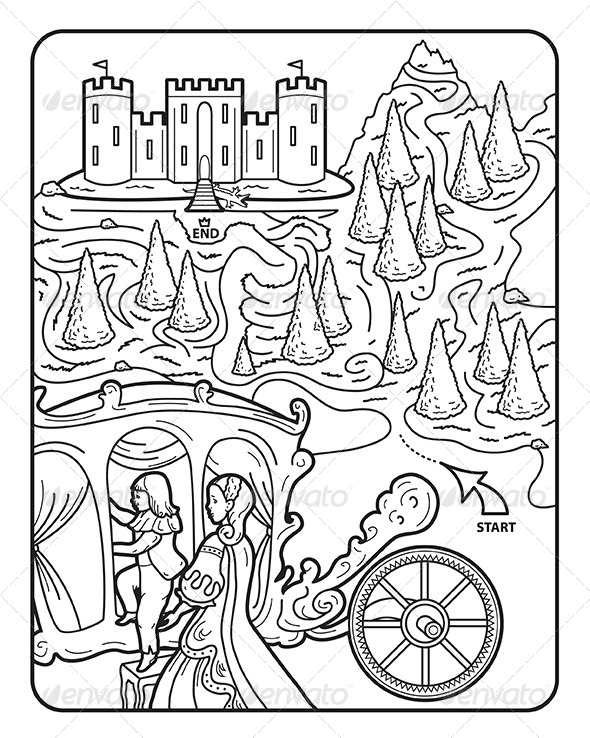 590x738 Coloring Book Page, Maze, Princess Augusta