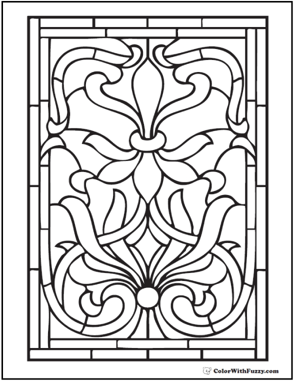 590x762 Stained Glass Coloring Pages Adults Free Coloring Pages
