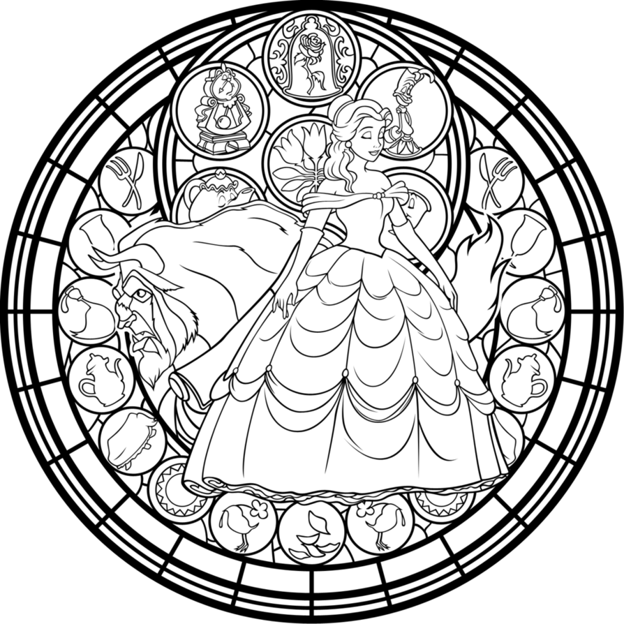 894x894 Belle Stained Glass Vector Coloring Page