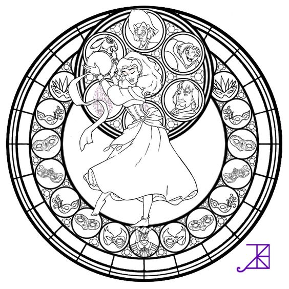 564x564 Disney Stained Glass Coloring Pages