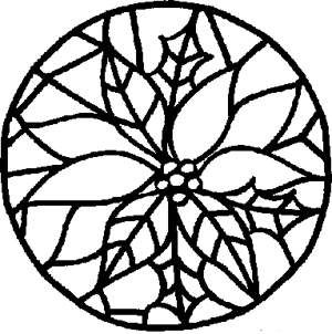 300x302 Free Kids Christmas Coloring Pages Stained Glass Poinsettia