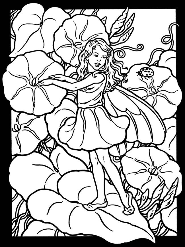 650x867 Garden Fairies Stained Glass Coloring Book Flower Fairies