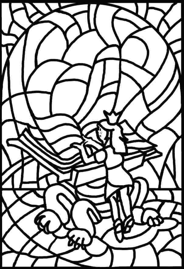605x886 Outstanding Free Stained Glass Coloring Pages Color Glass Para