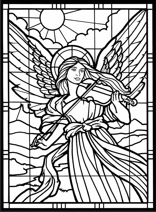 650x882 Angels Coloring Pages Stained Glass Window