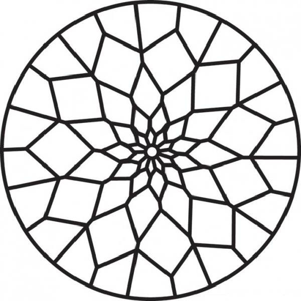 600x600 Stained Glass Coloring Pages
