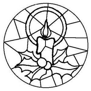300x300 Free Kids Christmas Coloring Pages Stained Glass Candle P