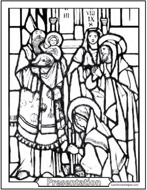 Stained Glass Coloring Pages Religious