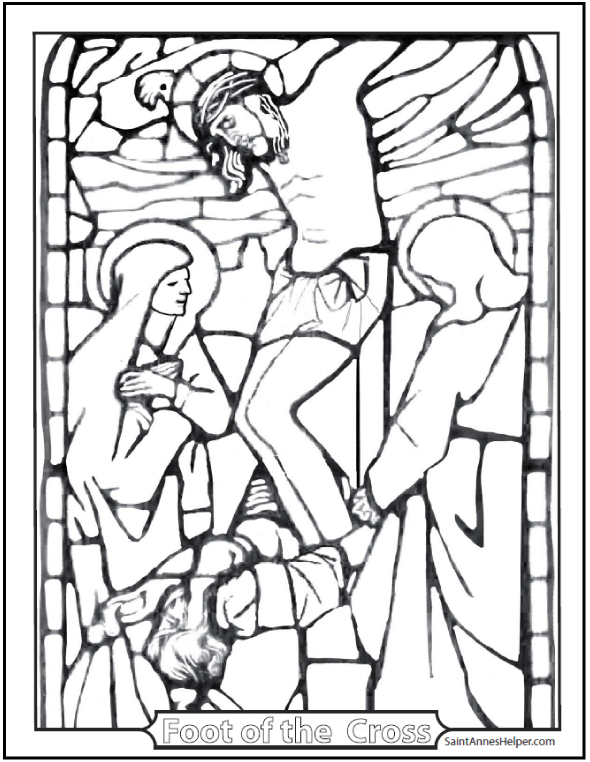 590x762 Stained Glass Coloring Page Jesus' Crucifixion