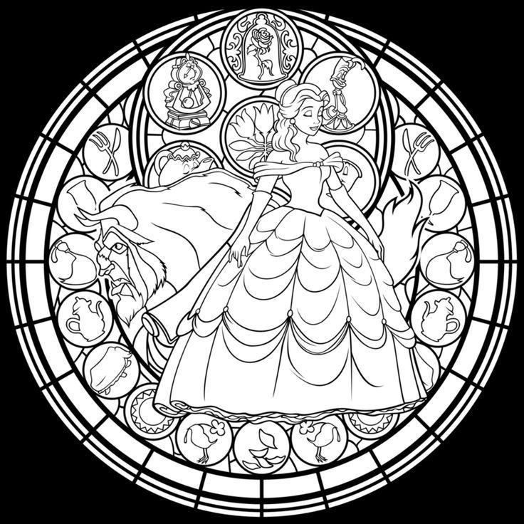 736x736 Advanced Coloring Pages Stained Glass Window