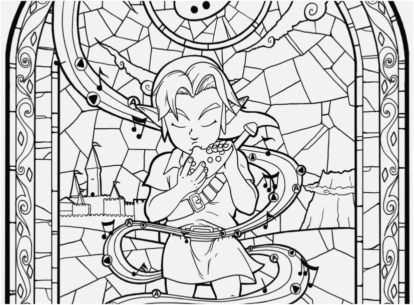 827x609 Stained Glass Window Coloring Pages View Zelda Wind Breaker Big