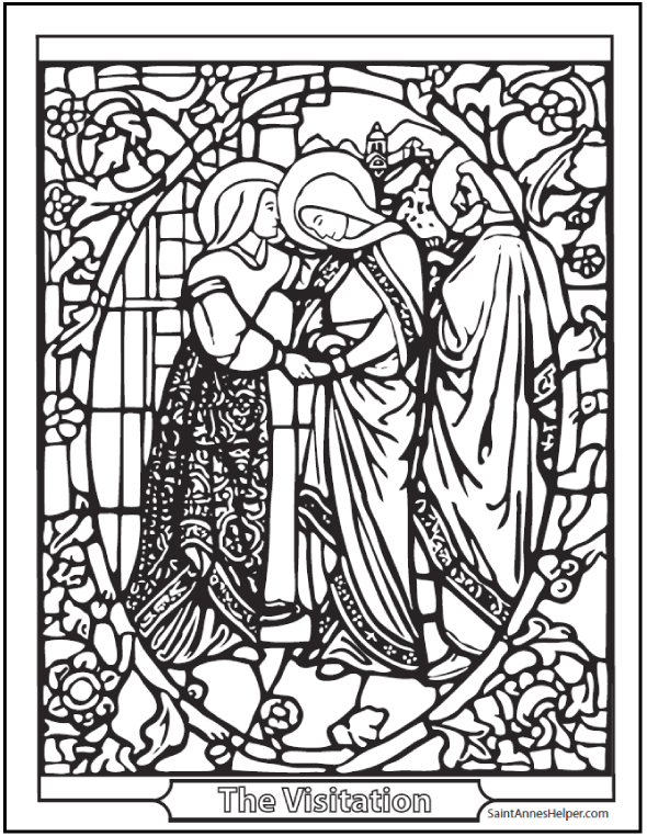 590x762 Visitation Stained Glass Coloring Page
