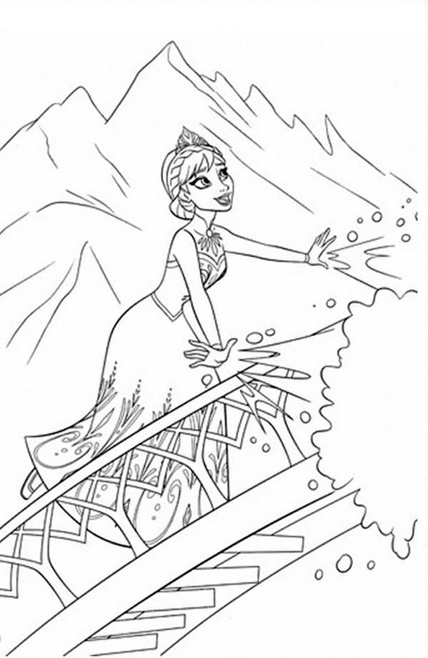 600x922 Elsa Making Snow Using Her Magic Power Coloring Page