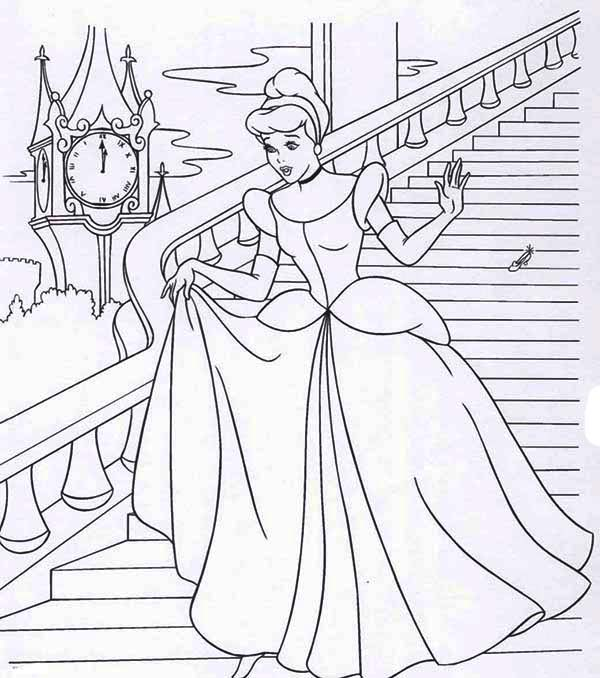600x678 Princess Walking Down The Stairs Princesses Coloring Pages Batch