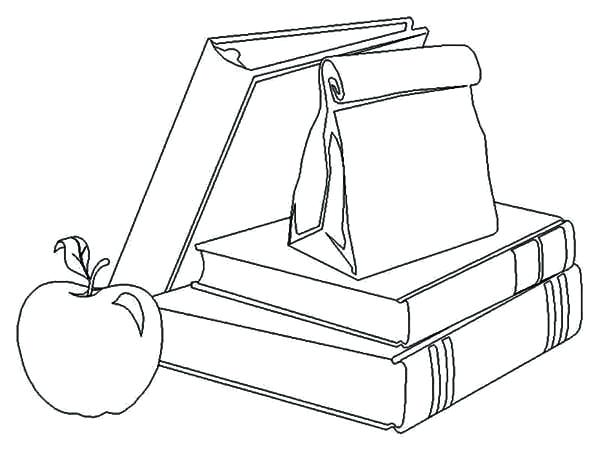 600x450 Back To School Coloring Pages School Supplies And Lunch For Going