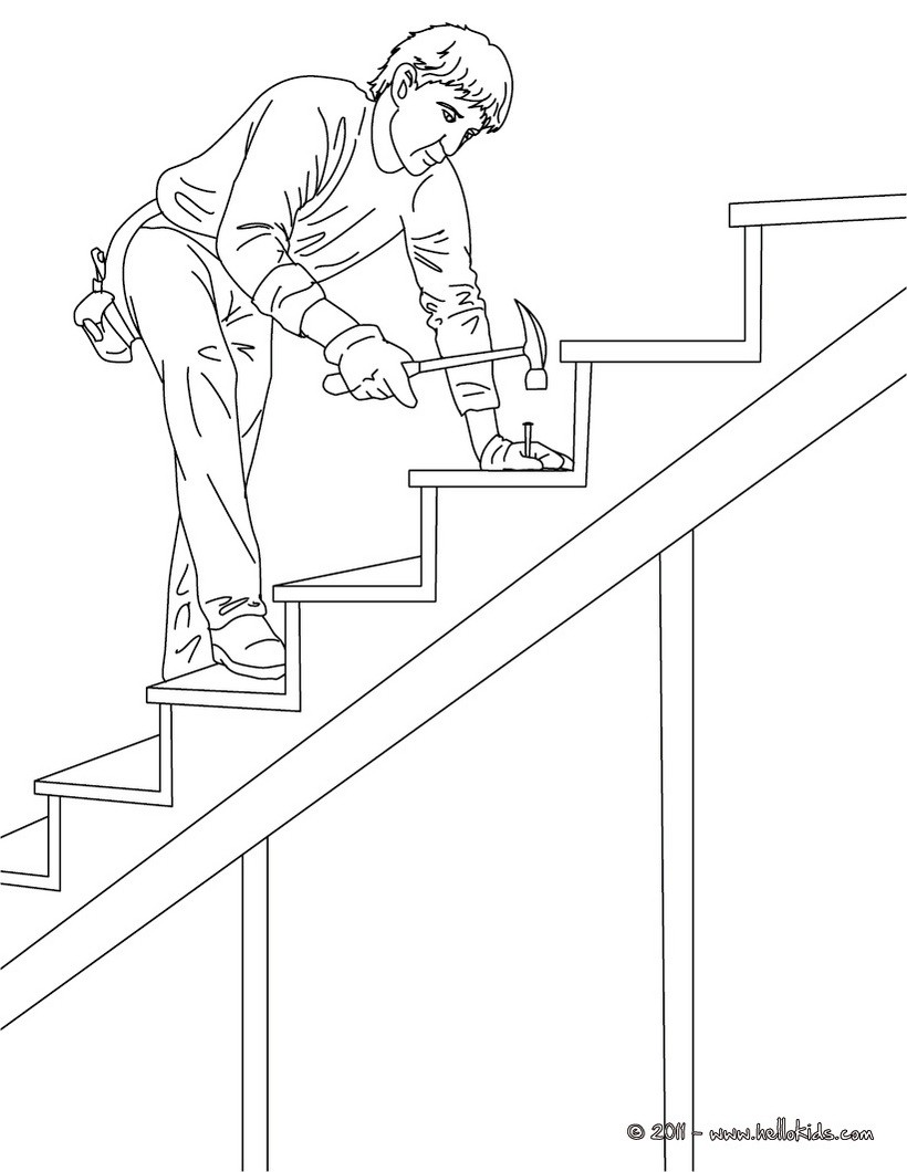 820x1060 Color This Carpenter On Wood Stairs Coloring Page Amazing Way