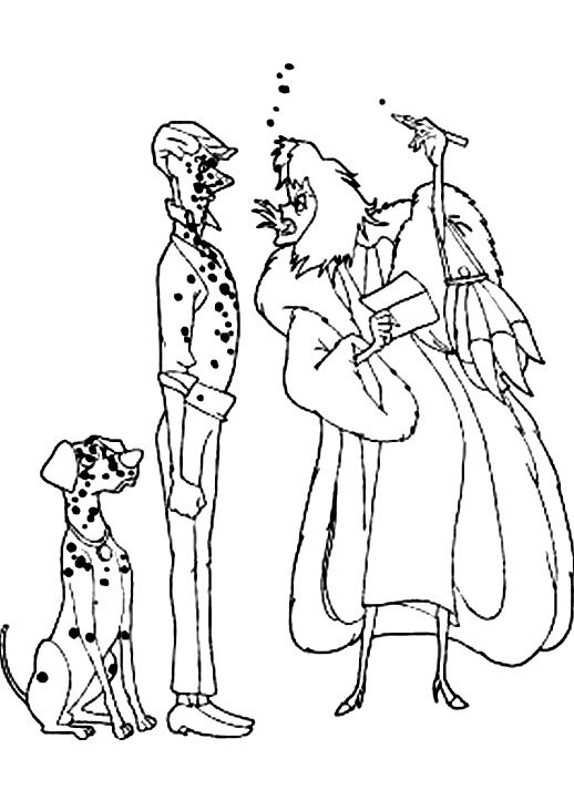 518x713 Cruella Devil Walks With Anita On Stairs And Pongo Following