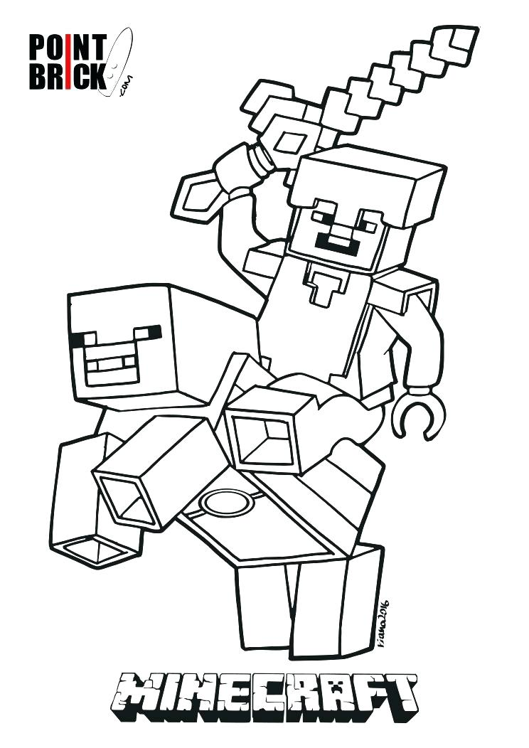 744x1052 Minecraft Coloring Sheet