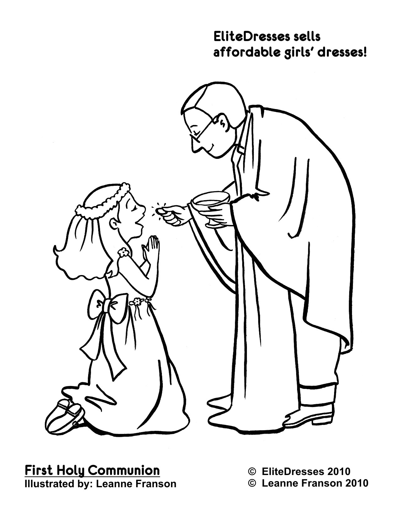 1275x1650 First Communion Dress Coloring Pages