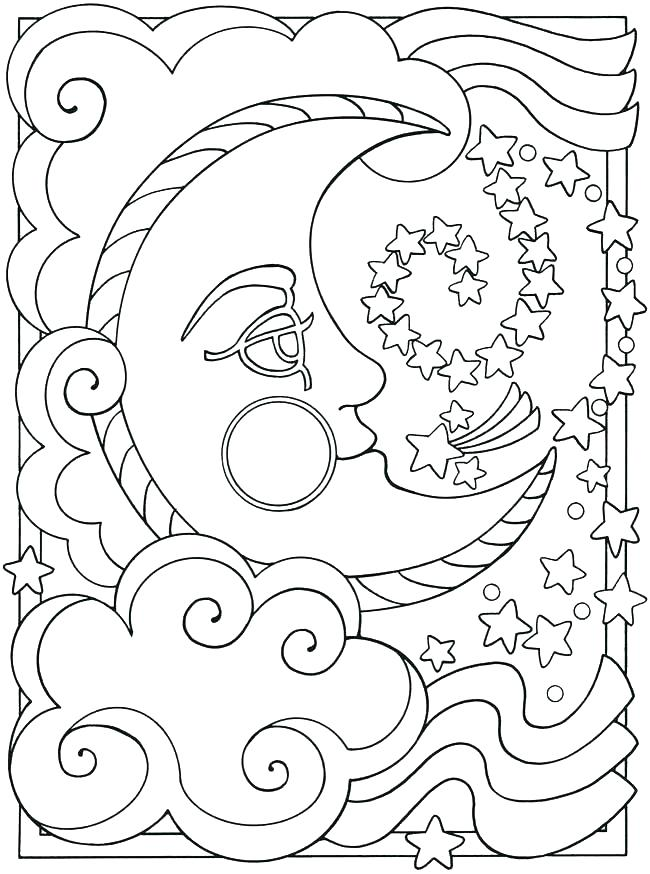 650x874 Star Coloring Pages Printable Moon Coloring Page Pages Free