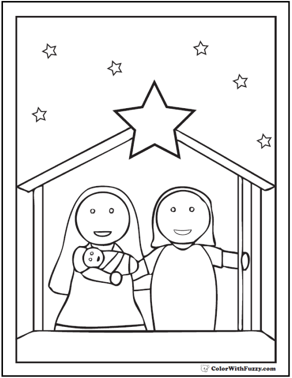 590x762 Preschool Nativity Scene Coloring Page