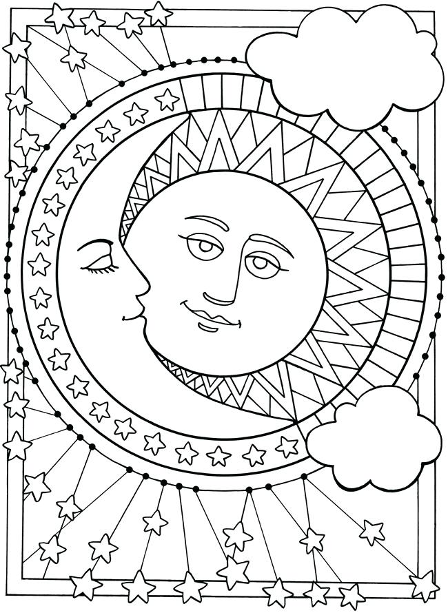 650x893 Stars Coloring Pages Moon And Stars Coloring Pages Star Coloring