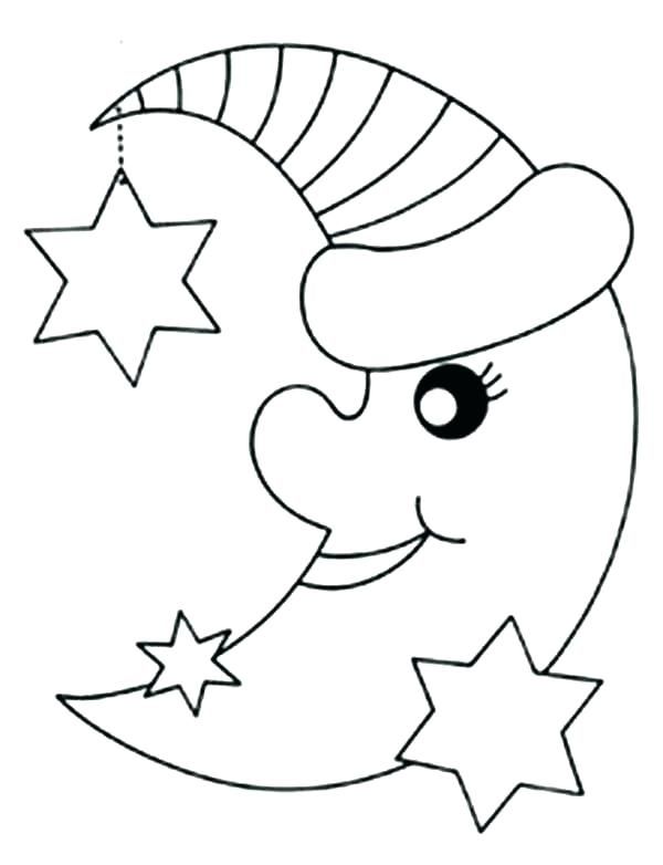 600x782 Moon And Star Coloring Pages