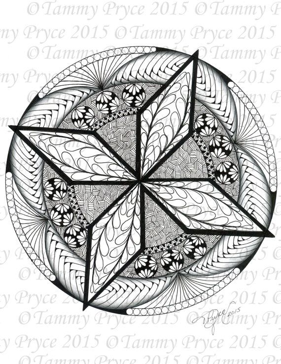 570x738 Hand Drawn Star Mandala Adult Coloring Page Digi Stamp Instant