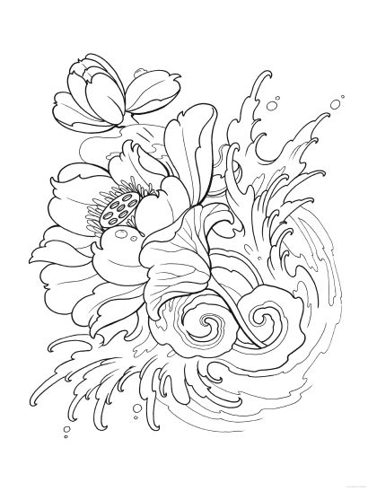 410x547 Tattoo Coloring Pages Flower Coloringstar Regarding Design