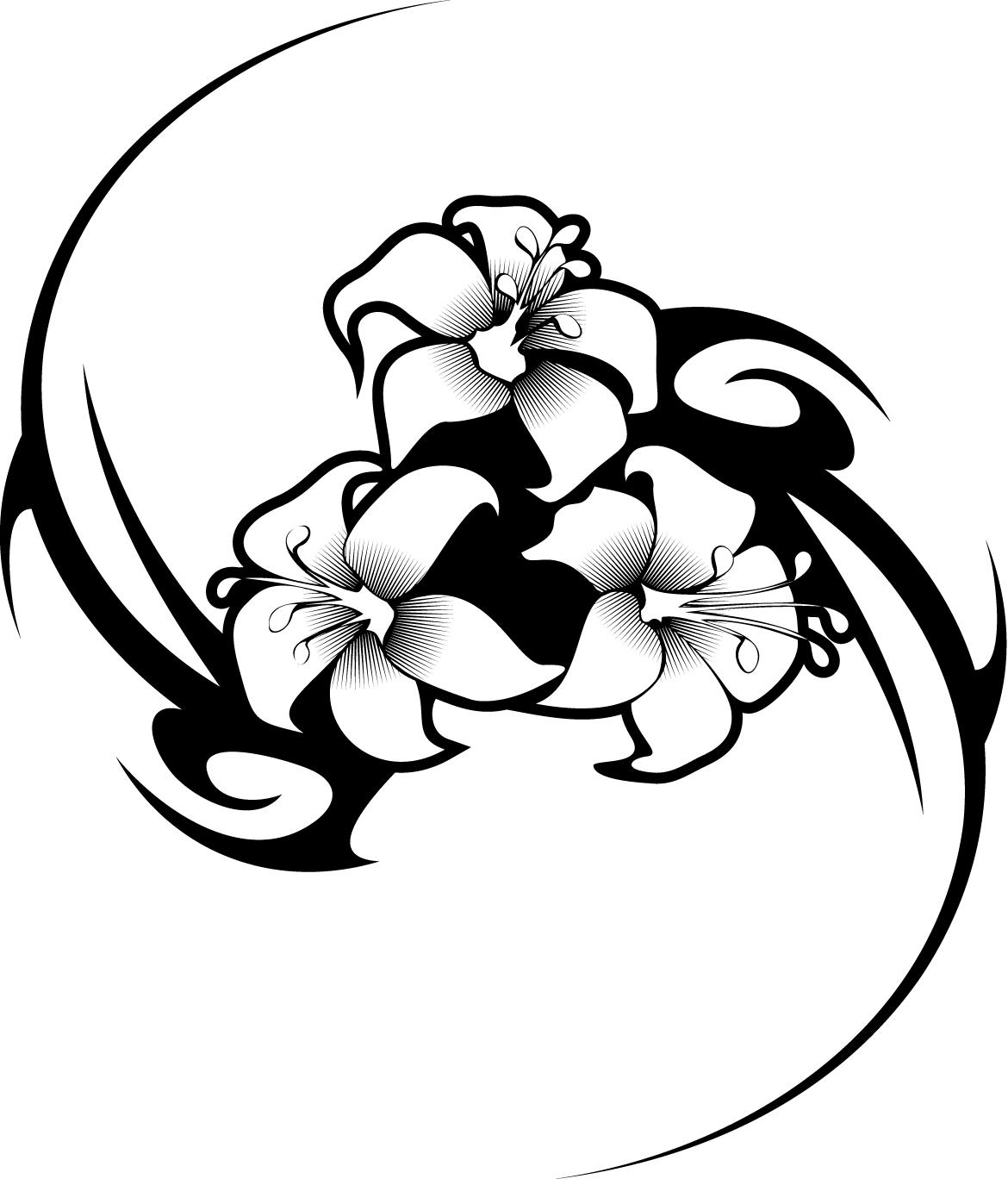1170x1368 Working Sheet Of A Hibiscus Flower Tattoo Tribal Design