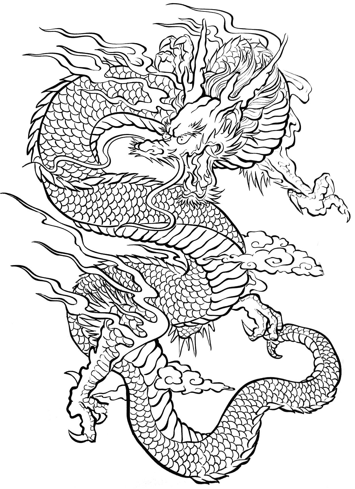1236x1701 Chinese Dragon Coloring Pages Printable Free Animals Face To Print