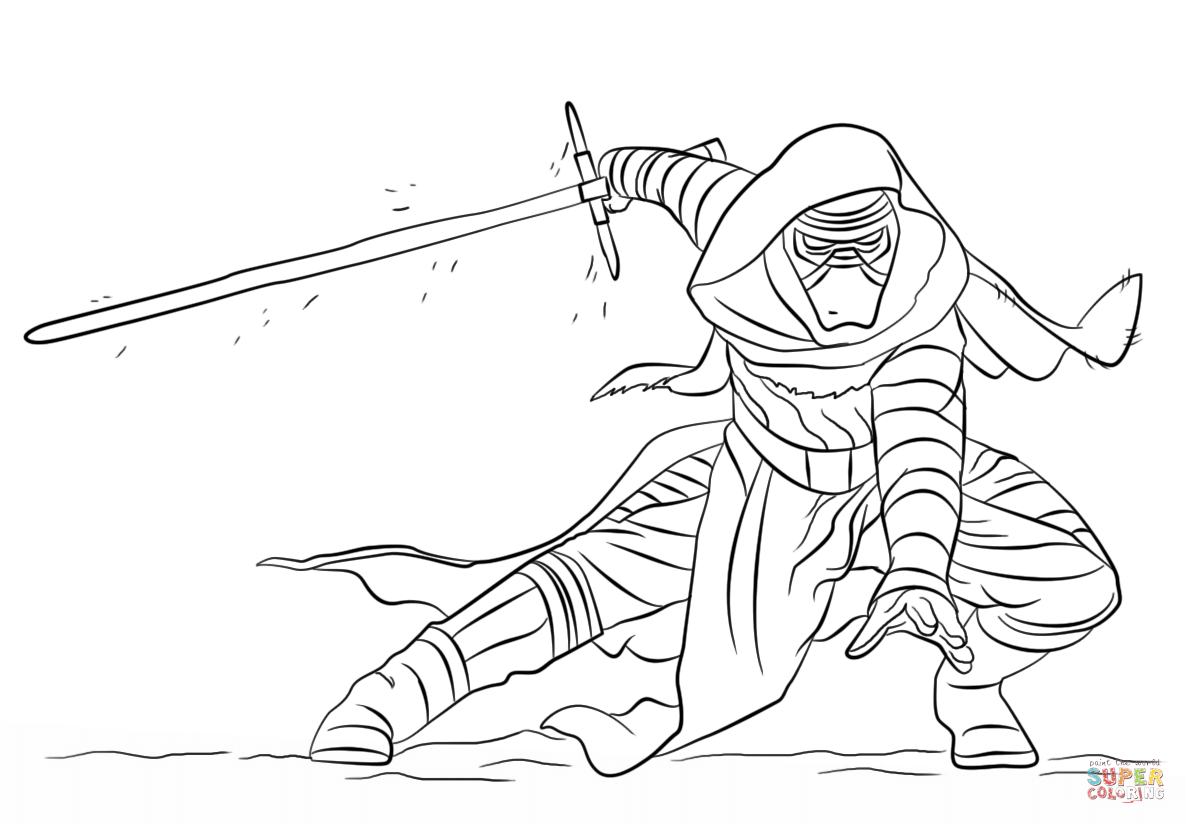 1186x824 Kylo Ren Coloring Page Free Printable Pages Fine Star Wars