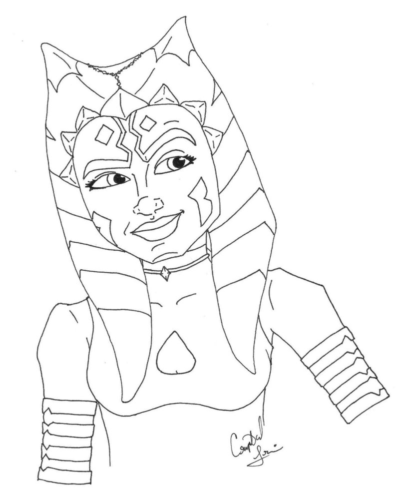801x997 Ahsoka Coloring Pages
