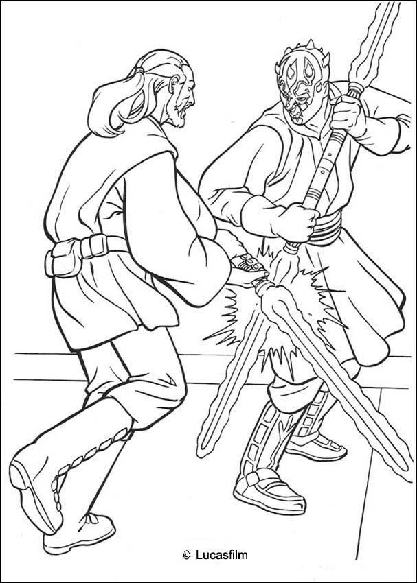 607x850 Jedi Knight Qui Gon Jinn Fighting A Duel With Darth Maul Coloring