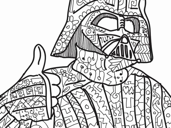 570x427 Darth Vader Star Wars Coloring Page Adult Coloring Zentangle Lego