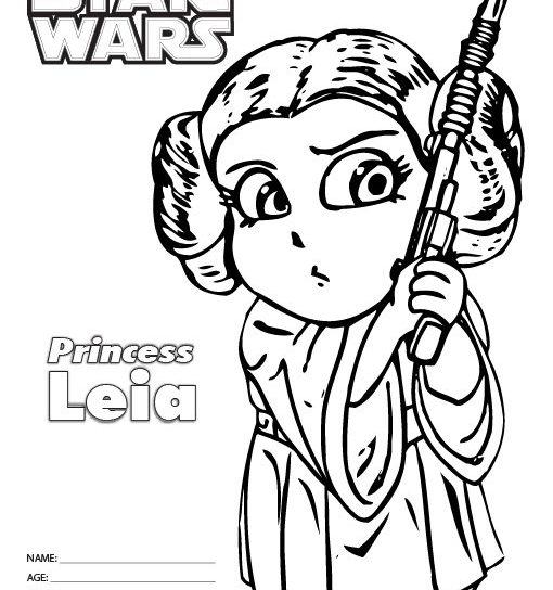 510x544 Princess Leia And Luke Coloring Pages For Adults Free From Star