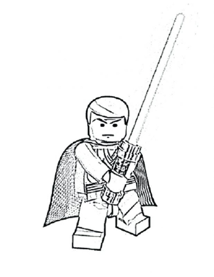 750x970 Lego Star Wars Coloring Pages Luke