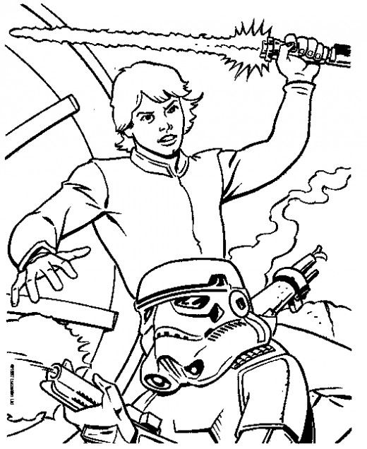 520x636 Free Star Wars Coloring Pages Luke Skywalker And Color Sheets