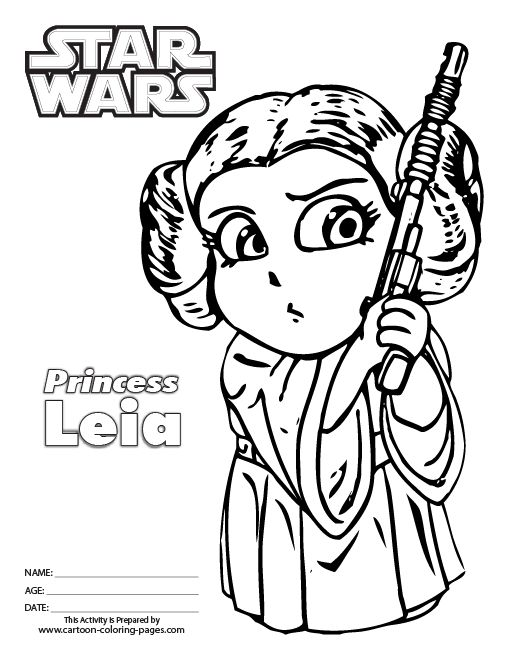 510x660 Princess Leia Coloring Pages Printable