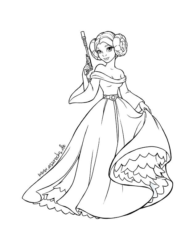600x751 Star Wars Princess Leia Coloring Pages
