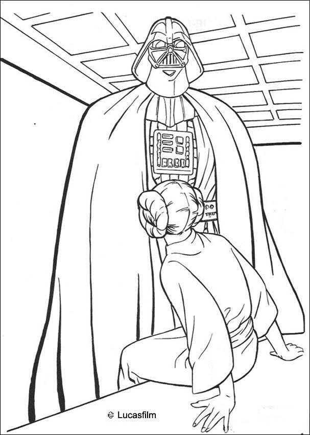 607x850 Darth Vader And Princess Leia Coloring Pages