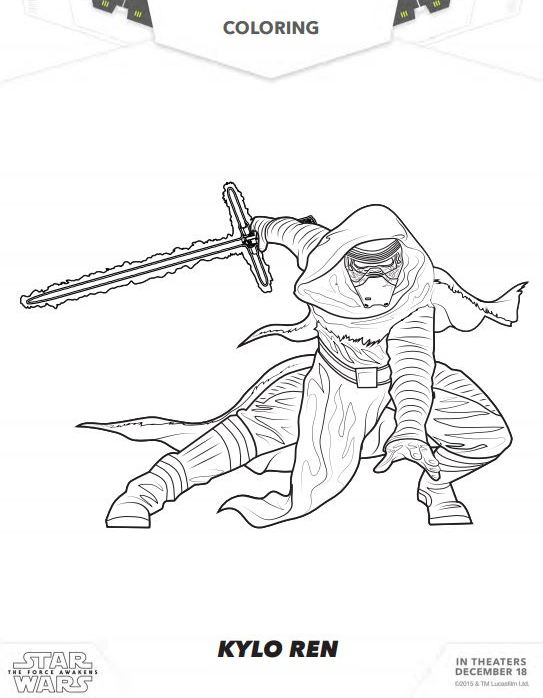 543x698 Star Wars The Force Awakens Coloring Pages And Activity Sheets