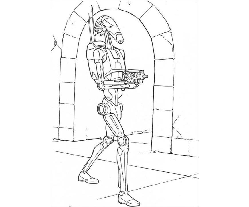 870x722 Print Star Wars Coloring Pages Battle Droid Or Download Star Wars
