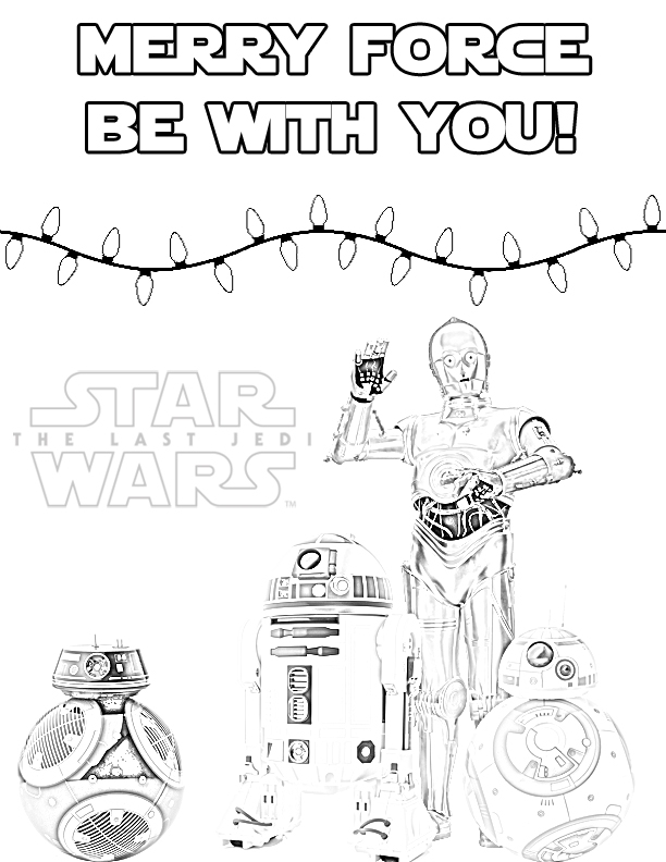 612x792 Star Wars Christmas Coloring Pages Free