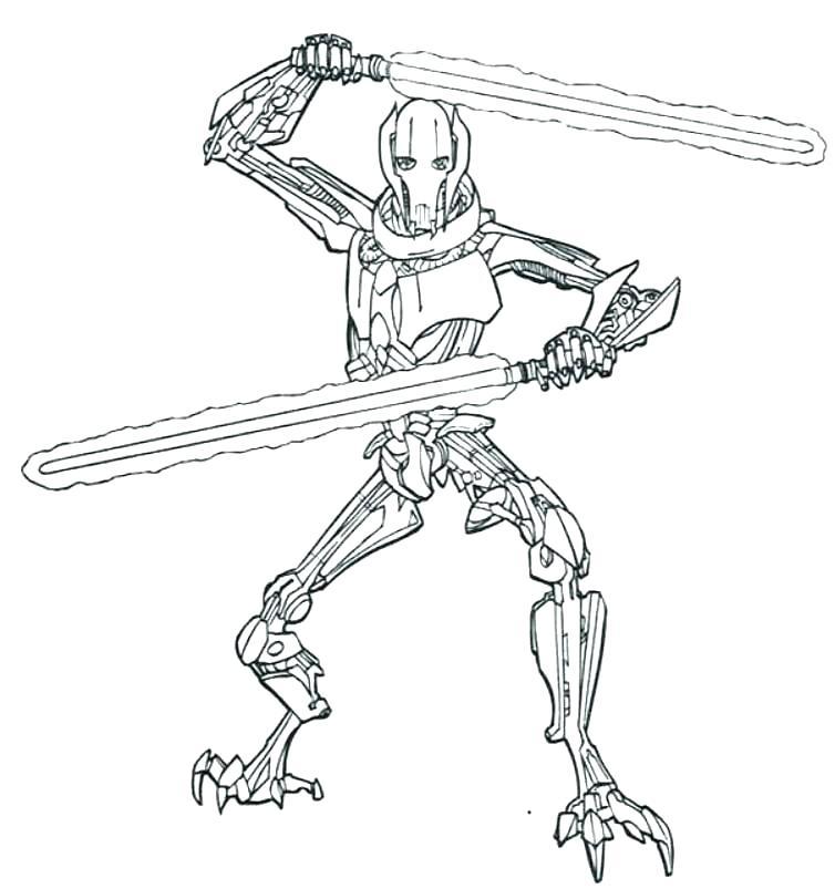 754x803 Star Wars Super Battle Droid Coloring Pages