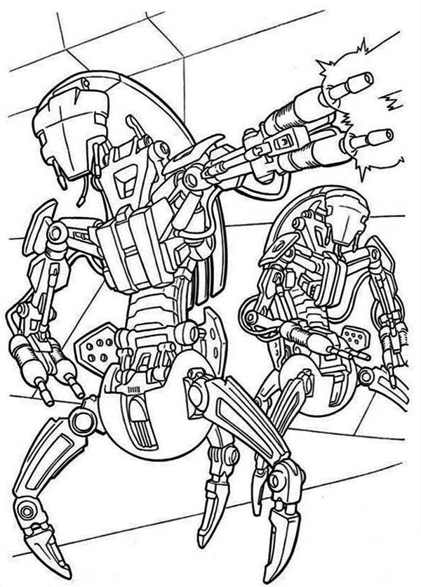 600x836 Droidekas Shooting Laser Gun In Star Wars Coloring Page